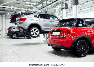 Moscow, Russia, 09.06.2018: MIni and BMW cars at the service station