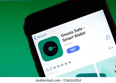 Moscow, Russia - 1 June 2020: Gnosis Safe Smart Wallet app mobile logo close-up on screen display, Illustrative Editorial