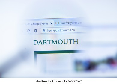 Moscow, Russia - 1 June 2020: Dartmouth College website with logo, Illustrative Editorial.