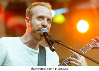 MOSCOW, RUSSIA - 1 JUNE: Al Doyle (Hot Chip) playing on Moscow Ahmad Tea Music Festival. Moscow, 1 June, 2013