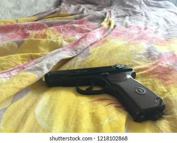 Moscow. Russia. 1 november 2018 - Makarov pistol on crime scene, scene of crime, murder scene. Gun on the floor.
