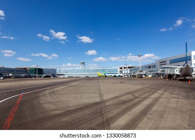 Moscow / Russia - 10.04.2018. Domodedovo International Airport. Passenger terminal and Air Traffic Control Tower (ATC).