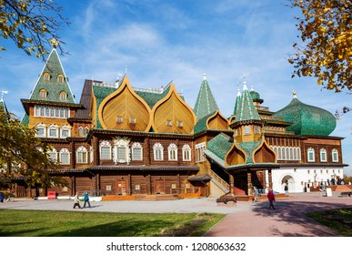 Moscow, Russia, 10/16/2018, Kolomenskoye Estate. The Palace of czar Alexey Mikhailovich (reconstruction). This wooden czar Palace, built in the village of Kolomenskoye near Moscow in the XVII century.