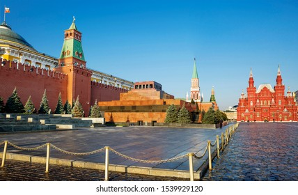 Moscow, Russia, 10/17/2019, Red Square. Kremlin wall. Mausoleum Of Vladimir Lenin.  The Moscow Kremlin is located in the heart of the Russian capital. It is a large architectural complex, fortress...