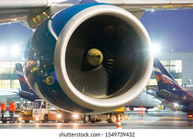 Moscow / Russia - 10.29.2019. Sheremetyevo International Airport. Passenger aircraft Airbus A350 of the Vietnam Airlines. Engine Rolls-Royce Trent XWB. Air intake and fan blades closeup. Night time.