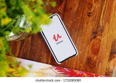 Moscow, Russia - 11 May 2020: Mobile phone screen with Udemy app. Udemy is one of the best online learning application for everyone.