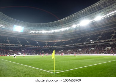 Moscow, Russia. 11 November 2017. The Luzhniki Stadium. Friendly match in football. Russia-Argentina.Football field. People watching football from the stands.Preparation for the world Cup.
