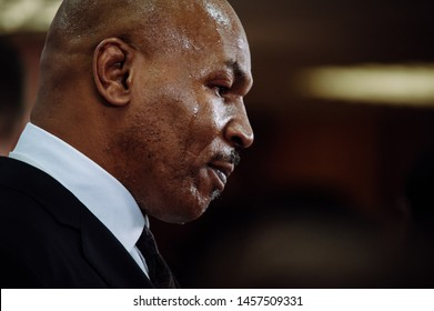 Moscow, Russia - 11.28.2017 /  An american former heavyweight boxing champion Mike Tyson at Synergy Global Forum in Moscow