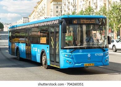 MOSCOW, RUSSIA - 12 AUGUST 2017: Modern city bus of Moscow LiAZ-5292 on Tverskaya street follows the route of the M1
