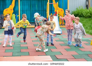 Moscow. Russia. 12 July 2017. Children in kindergarten for a walk.