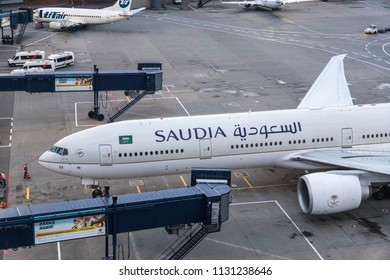 MOSCOW, RUSSIA - 12 june 2018: The aircraft Boeing 777 of the airline Saudia (Saudi arabian airlines) arrived in Russia and landed at the international airport Vnukovo