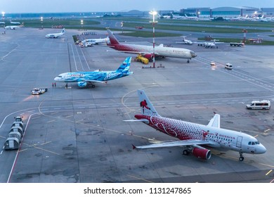 MOSCOW, RUSSIA - 12 june 2018: Rossiya airlines aircraft in branded liveries is parked in the international airport Vnukovo