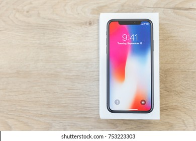 MOSCOW, RUSSIA 12 NOVEMBER, 2017: Iphone X smart phone. Latest Apple Iphone 10 mobile phone. Illustrative editorial.   newest Iphone with big touch screen and dual vertical camera