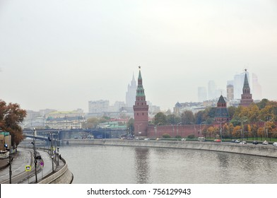 Moscow, Russia - 12 October , 2014. View of the Moscow Kremlin, the Moscow River.