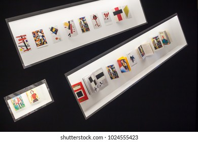 """Moscow, Russia, 13.02.2018: Exhibits of Kazimir Malevich exhibition, Exhibition Center """"Worker and Collective Farm Girl"""""""