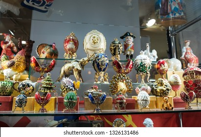 Moscow, Russia, 13.09.2018: Faberge eggs and other Souvenirs on display