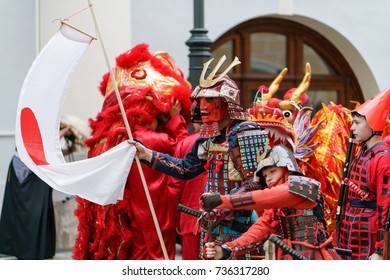 MOSCOW, RUSSIA, 14 OCTOBER 2017: Carnival parade in Moscow dedicated to the 19th World Festival of Youth and Students