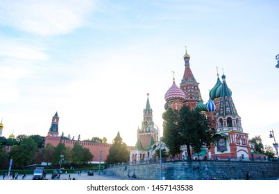 Moscow, Russia, 14.09.2018:  St. Basil's Cathedral in Moscow on red Square at sunset