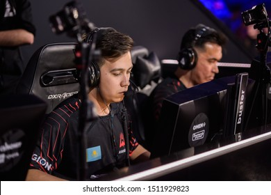 MOSCOW, RUSSIA - 14th SEPTEMBER 2019: esports event of a Counter-Strike game. Players of a team Avangar Adren and Timur buster Tulepov inside a player's booth.