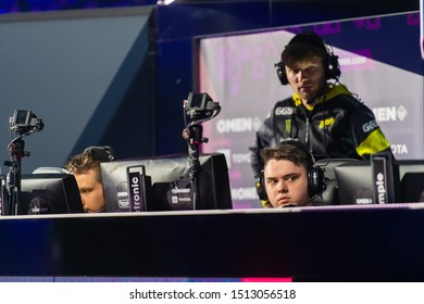 MOSCOW, RUSSIA - 14th SEPTEMBER 2019: esports Counter-Strike: Global Offensive event. Players of a team Natus Vincere on a stage inside booth.