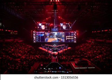 MOSCOW, RUSSIA - 14th SEPTEMBER 2019: esports Counter-Strike: Global Offensive event. Big illuminated main stage of a computer games tournament located on a big stadium. Tribunes are full of video