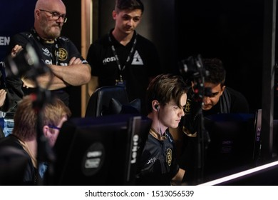 MOSCOW, RUSSIA - 14th SEPTEMBER 2019: esports event of a Counter Strike game. Players of a team NiP on a stage inside booth. Fredrik REZ Sterner on a computer.