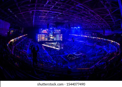 MOSCOW, RUSSIA - 14th SEPTEMBER 2019: esports event of a Counter Strike game. Video games fans cheering for their team during the match.
