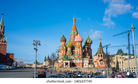 Moscow, Russia, 16th, February, 2019. The view of Saint Basil's Cathedral, is a church in Red Square in Moscow, also is one of the most recognizable symbols of the country.