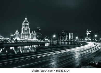 Moscow, Russia. 17 February 2017 - black and white photo of the view of Radisson Royal Hotel from the New Arbat Street with car light trails, Moscow Russia on 17 February 2017