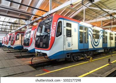 "MOSCOW, RUSSIA - 17 february 2018: Moscow metro train ""Moscow"" (model 81-765) are in the depot Vykhino before going on the line"