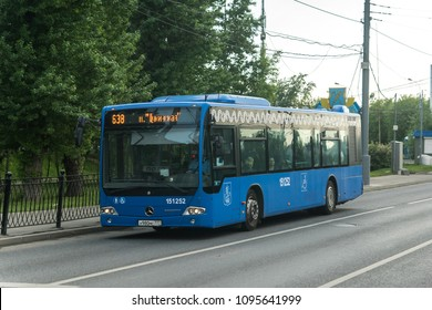 MOSCOW, RUSSIA - 17 may 2018: Bus Mercedes Conecto should Novoschukinskaya street in Moscow