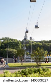Moscow, Russia, 17. May, 2019:  The cable car  on Vorobyovy Gory. The cable car  connects the banks of the Moscow River and the station Vorobyovy Gory and Luzhniki.