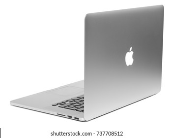 MOSCOW, RUSSIA – 17 OCTOBER 2017: Brand new MacBook Pro with Retina display. Isolated on white background. MacBook is a brand of notebook computers manufactured by Apple Inc.