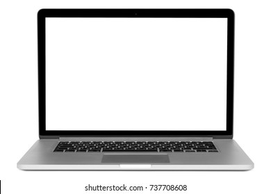 MOSCOW, RUSSIA – 17 OCTOBER 2017: Brand new MacBook Pro with Retina display with isolated white screen. MacBook is a brand of notebook computers manufactured by Apple Inc.