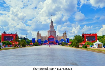 Moscow, Russia, 19 June 2018: Football fan zone of Russia mundial near Moscow university, vibrant soften view onto the main screen