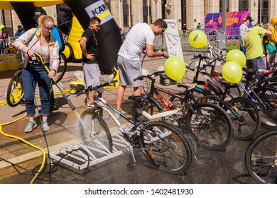 Moscow. Russia. 19 may 2019. Moscow Cycling festival 2019. Bikes wash by Karcher during the Moscow festival