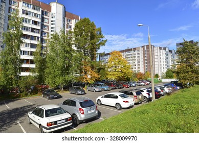MOSCOW, RUSSIA - 19.09.2015. The above-ground car park to Zelenograd in autumn