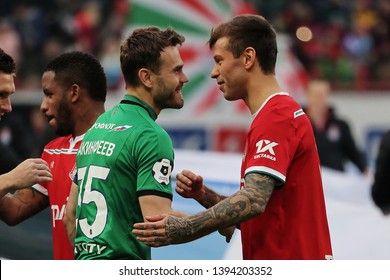 Moscow, Russia, 20 april 2019. RZD Arena. Igor Akinfeev & Fedor Smolov in the football match of Russian Premier League 2018/2019 between Lokomotiv (Moscow.Russia) & CSKA (Moscow.Russia)
