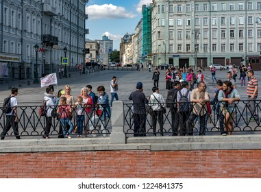 Moscow / Russia - 20 August 2018: The People on Arbat street, the oldest pedestrian area in downtown of Moscow, Russia.