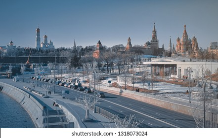 Moscow, Russia - 20 Feb 2018: View of the Kremlin and Red Square from the park Zaryadye. Famous and historical places in centre of Moscow. Report from the streets of the center of Moscow.