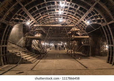 MOSCOW, RUSSIA - 20 june 2018: Construction of the metro station Nizhnyaya Maslovka at Bolshaya Koltsevaya line (Large Circle line) of the Moscow metro. Central Station Hall