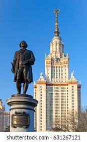 Moscow, RUSSIA 2017 April 30: Monument to Mikhail Lomonosov at Moscow State University. Moscow State University is one of Russia's most prestigious universities of higher learning, founded in 1755.
