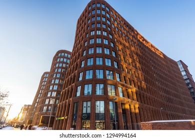 MOSCOW, RUSSIA - 2019-01-23 : Garden Quarters - premium class residential complex. LCD Garden blocks