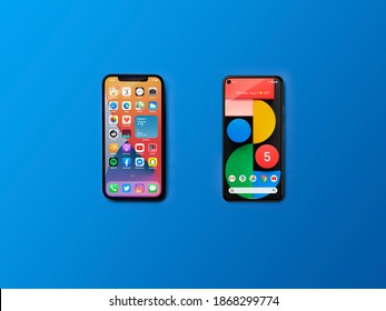 Moscow, Russia - 2020 December 3: Compare Apple iPhone 12 vs Google Pixel 5