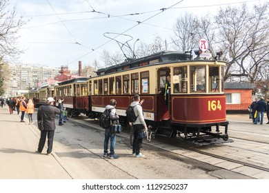 MOSCOW, RUSSIA - 21 april 2018: Old Moscow trams line up in a column to start the movement at the tram Parade