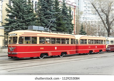 MOSCOW, RUSSIA - 21 april 2018: Tram train KTM-1 and KTP-1 is preparing to start moving in the composition of the column of trams at the tram parade