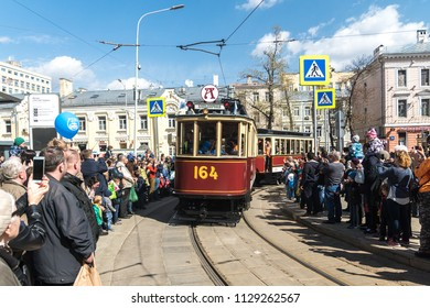 """MOSCOW, RUSSIA - 21 april 2018: Tram train F (""""fonarny"""", """"lantern"""", Mytishchi) takes part in the tram parade on Chistoprudny Boulevard in Moscow"""