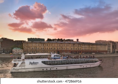 Moscow, Russia - 21 August 2016: Summer Cruise tours on the Moscow river on the Radisson Flotilla boats.