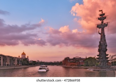 Moscow, Russia - 21 August 2016: Summer cruise tours on the Moscow river. Landmark and sights of the Russian capital.