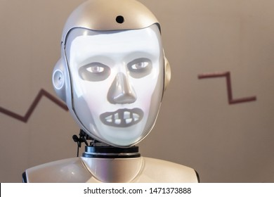 Moscow, Russia - 21 July 2019: Robot with human face close-up. The emotion of the robot. The robot smiles